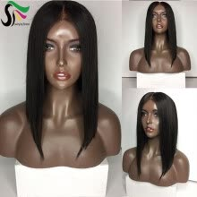 -9A Human Hair Wigs For Black Women Silky Straight Brazilian Virgin Lace Front Bob Wigs With Baby Hair on JD