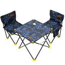 -Easy Tour camping outdoor folding table and chair three-piece self-driving equipment portable barbecue fishing picnic chair blue camouflage on JD