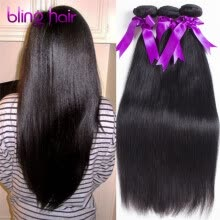 -Bling Hair Indian Virgin Hair Straight Hair 3 Bundles 7A Grade 100% Unprocessed Human Hair Weave on JD