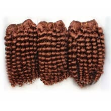 -Free Shipping Auburn Weave Hair 3pcs/lot Mix Length 100% Brazilian Virgin Remy Hair Auburn Curly Hair Extension Weft on JD