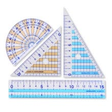 -(KOKUYO) Japanese imports of students with a ruler ruler / triangular ruler / protractor / blue GY-GBA501 on JD