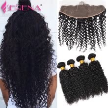 -Indian Curly Virgin Hair With Frontal Closure Indian Deep Wave With Closure Kinky Curly Weave Human Hair With Frontal PrePlucked on JD