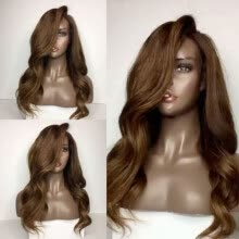 -PlatinumWig Ombre Natural Wave Glueless Full Lace/Lace Front Wigs For Women Brown Color 150 Density Brazilian Remy Human Hair Wigs on JD