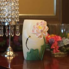 candles-holders-DFL 4.5X7 Vase Shape Of Flameless Real Wax Led Candle With Timer-Embossed White Lily Flower on JD