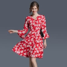 -2017 Summer  New Fashion Slim Chiffon MD-LONG Flare Sleeve Floral Print Women's Dress Party Office Prom Beach Beauty Lady's skirt on JD