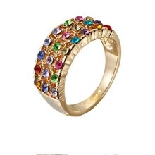 -Yoursfs@ Rings Gift Austrian Crystal Solitaire Pave 18K Gold Plated Use Multicolour Austria Crystal Charming Engagement Rings Fash on JD