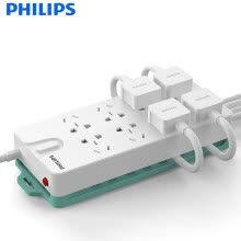 875061464-Philips PHILIPS multi-function socket management features plug-in board / row of plug / row / drag line board / carriage / 8-bit full-length 3 m / overload protection function child protection door on JD