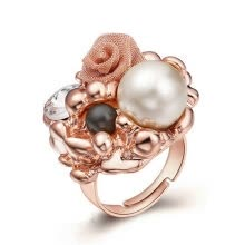 -Yoursfs@ Exquisite Gold Plating  Big Pearl With Gold Flower Rings For Women Vintage Design Female Ring Luxurious Jewelry Statement on JD
