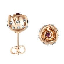 -Yoursfs@ Charms Rhinestone Rose Stud Earrings 18k Gold Plated Fashion CZ Jewelry Delicate Crystal Rose Women Stud Earrings for Wom on JD