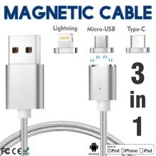875061539-Keymao Magnetic Phone Kabel Data Type-C Charger  Cable 3-in-1 Micro USB for iPhone 7 7 plus 6 6s Plus iPad Samsung S6 S7 S8 plus on JD