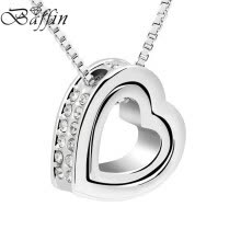 875062455-Classic Double Heart Necklaces Pendants Box Chain Necklaces Made With Austrian Crystals For Mother Girls Best Gifts on JD