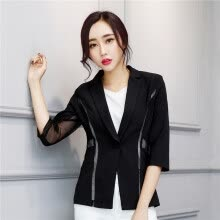 suits-blazers-Women Single Button Blazer Half Sleeve Hollow Out Design Casacos Femininos Basic Jackets Candy Color Female Blazers Suits on JD