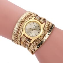 -2017 New Fashion Women's Casual Vintage Multilayer Wristwatch Weave Wrap Rivet Leather Bracelet Wrist Watch on JD