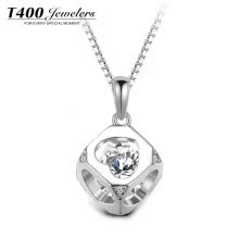 -T400 S925 Silver Necklace Female Mosaic Swarovski Artificial Zircon Lockbone Chain Pendant Love 45cm Girlfriend Valentine's Day Birthday Gift on JD