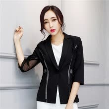 suiting-blazers-Women Single Button Blazer Half Sleeve Hollow Out Design Casacos Femininos Basic Jackets Candy Color Female Blazers Suits on JD
