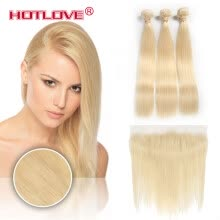 blonde-hair-pieces-Brazilian Virgin Hair 613 Blonde Straight Human Hair Weave 3 Bundles With Lace Frontal 13*4 Ear To Ear Lace Frontal With Baby Hair on JD