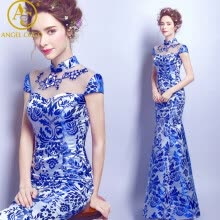 cheongsam-Китайские платья Cheongsam Вечернее платье Royal Blue White Women's Bra Satin Sexy Qriental dress Qipao Custom Размер: 2-26W kaftan on JD