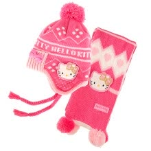 -HELLO KITTY Hello Kitty Cushion Two-Piece Women's Winter Set Hat Scarf Knitted Woolen Girl Fall Winter Warm SKCM00240 Rose on JD