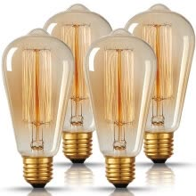 -BOKT Vintage Edison Bulbs 60W ST64 Antique Edison Bulb Squirrel Cage Filament Bulb for Pendant Light 2700K E27 Medium Base 4 PACK on JD