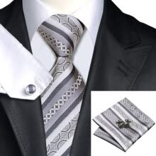-N-0589 Vogue Men Silk Tie Set Gray Stripes Necktie Handkerchief Cufflinks Set Ties For Men Formal Wedding Business wholesale on JD
