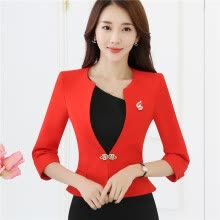 -Ladies Blazers 3/4 sleeve Ruffle Hem White Red Formal Jacket Suit Spring Slim Fit Plus Size Work Wear Uniform on JD