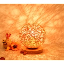 -BOKT Minimalist Solid Wood Table Lamp Bedside Desk Lamp Colourful Home Decor Rattan Ball Round Lampshade (Orange) on JD