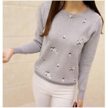 pullovers-COCOEPPS 2017 Women Autumn Winter Sweaters Ladies Fashion Floral Embroidery Pullover High Elastic Tricot Jumper Femme Soild Tops on JD