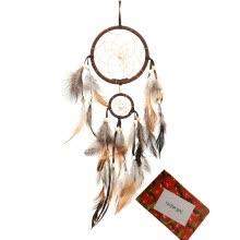 -Brown Handmade Beaded Feather Dream Catcher Circular Net For Car Kids Bed Room Wall Hanging Decoration on JD