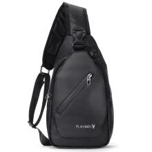 875062575-Playboy playboy men's chest bag casual men's bag sports small backpack pocket Korean version of the shoulder bag chest Messenger bag tide PBP0371-8B black on JD