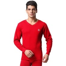 -Seven wolves Qiuyi Qiuku men's cotton thermal underwear set V-neck winter men's thin section bottoming cotton sweater 98146 red L on JD