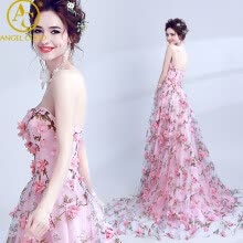 -Robe De Soiree Longue Long Tulle Evening Dress Party Vestido De Festa 3D Flowers A-line Elegant Pink Prom Gown Abendkleider on JD