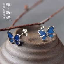 -Luo Linglong s925 sterling silver blue butterfly earrings earrings anti-allergy simple temperament personality fresh retro handmad on JD
