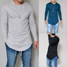 -New Men Casual T Shirt Cotton Long Sleeve O-Neck Silm Fit T-shirt Mens Fashion Solid Color Tshirt Men's Clothing S-3XL on JD