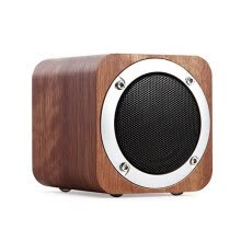 -Newman MX05 fashion retro wood wireless portable Bluetooth speaker stereo, subwoofer desktop stereo cherry wood color on JD