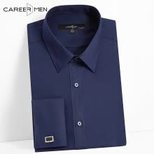 875061883-CareerMen Men's Regular Fit Non Iron Spread Collar Plain Graceful French Cuff Long Sleeve Dress Shirt on JD