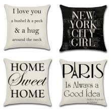 8750203-Cotton Linen Square Decorative Throw Pillow Case Cushion Cover 18' x 18' Quotes Paris is Always a Good Idea on JD