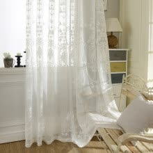 8750202-European White Embroidered Voile Curtains Bedroom Sheer Curtains for Living Room Tulle Window Curtains/Panels Window Screening on JD